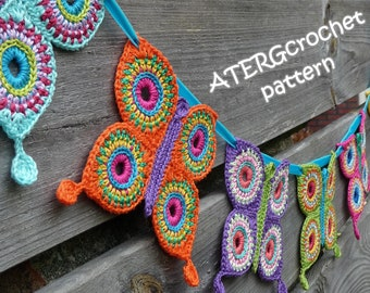 Crochet pattern butterfly garland by ATERGcrochet