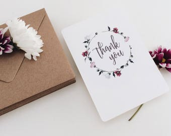 20 Flower Cown Thank You Postcards || Thank You Card Pack, Christening Thank You Notes