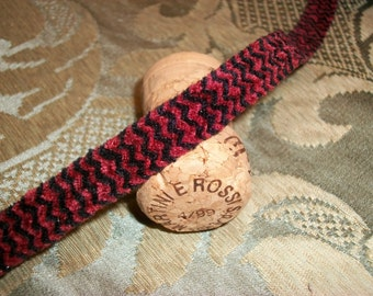 4 Yards-Chenille Tape Trim-Wine and Black Rick Rack Design - 1/2 inch wide - Very Plush-Double sided