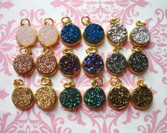 Drusy Druzy Pendant Charm / 11 mm, 1-25 pcs, u pick color / Sterling Silver or 24k Gold Bezel Set Drussy Druzzy, ap31.2 dr gcp10 ll gp