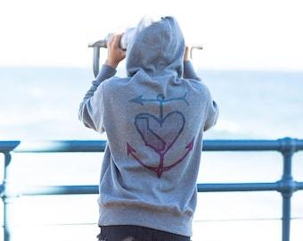 California Heart Anchor Aquatic Maritime Arrow Sails Sailor Women's Gray Zip  Up Summer Beach Hoodie Made