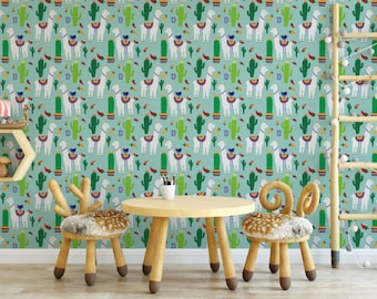 Blue Llama And Chili Peppers Removable Wallpaper