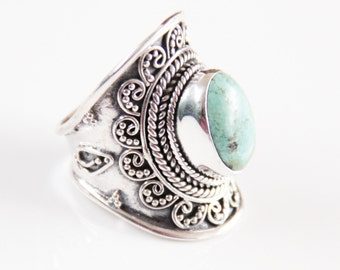 Turquoise Sterling Silver Ring, Personalized Jewelry, Turquoise Jewelry, Boho Rings, Boho Jewelry, Boho Chic, Statement Rings, Don Biu