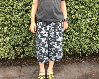 Whale camo canvas long shorts - Size 6 - Adore the Cloth