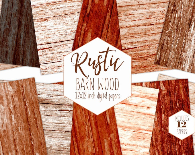 BROWN RED WOOD Digital Paper Pack Rustic Backgrounds Distressed Wood Grain Scrapbook Papers Wood Plank Textures Rust Mahogany Wood Clipart