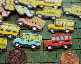 20 School Bus, colorful wood buttons, 2 hole, green, pink, yellow, blue, sewing, crafts, colorful, scrapbooking, maker, whimsical