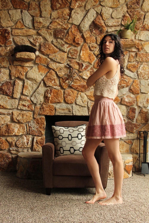 Flirty Pink Embroidered Short Skirt