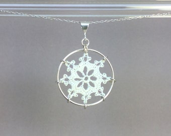 Nautical doily necklace, white silk thread, sterling silver