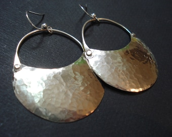 Hammered Silver Riveted Hoops Modern Crescent Moon Phase Earrings Cold Connection Silver Hoop Earrings Contemporary Metalwork Earrings