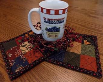 Mug Rug/Mug Mat/Primitive Decor/Farmhouse Decor/Country Decor/Scrappy/Checkerboard/Handmade/Quilted/Item #252