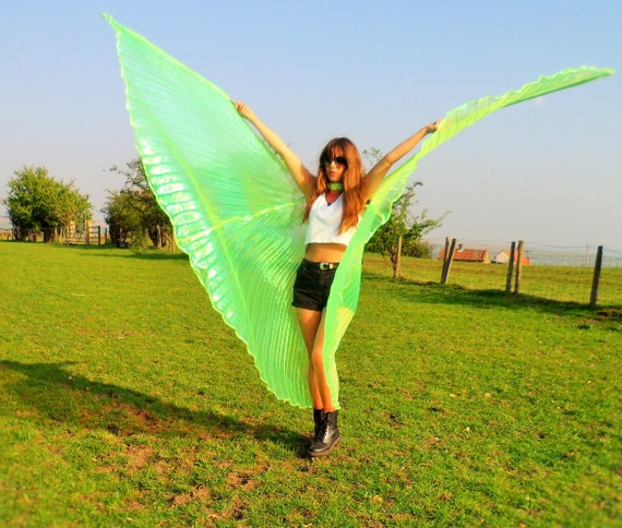 Rainbow LED Light Up Transparent Shiny Hologram Pleated Festival Dance Party Raver Carnival Butterfly Angel Fairy Wings Cape Large UK Seller ITlV2