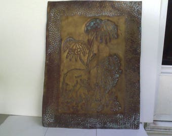 Vintage Pierced Metal Panel 15 by 20 inches with Lion and Palm trees