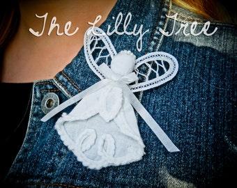 Angel Pin Battenburg Lace White Fabric Lapel Pin