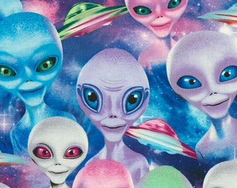 Selfie Aliens Fabric; 1/3 Yard, 1/2 Yard, or By The Yard; C5634 Timeless Treasures; Novelty Fabric; Extraterrestrial; Martian