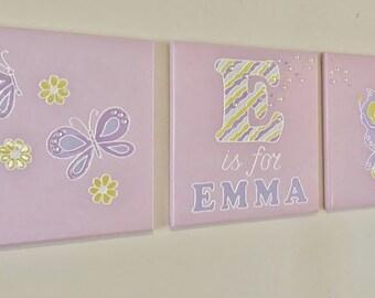 36x12 Personalized CUSTOM NAME Painting- Nursery Art on Canvas- Handmade Wall Decor -Original Kids Room Artwork- Gift Idea Pink Yellow White