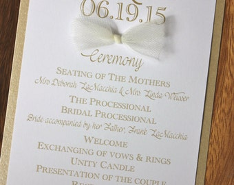 Gold and white flat layered wedding program - tulle and pearl accents