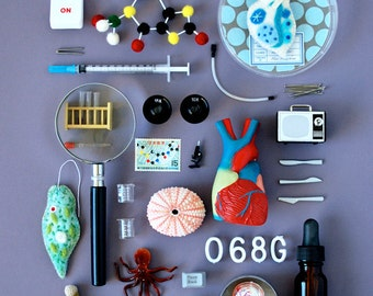 Print: Bioscience - Photograph Science Lab Microbe Biology Art Miniature Collage Wall decor HineMizushima Gray Microbe Nature Anatomy