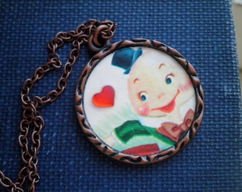 Vintage Humpty Dumpty Love Necklace - Smiling Humpty Dumpty Red Glass Heart Pendant - Retro Fairy Tale Story Book Art Jewelry Gift For Her