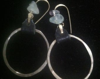 Medium Sterling Silver Hammered Hoop Earrings with Dark Leather and Flourite Chips