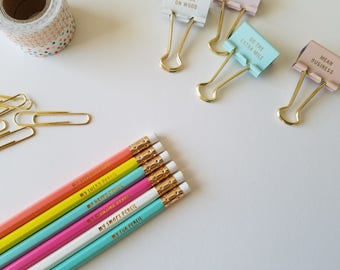 MY LOVELY Trendy Statement Pencils    Motivational Pencils   Inspiring Quotes   Foiled Design