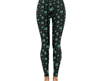 Turquoise crystal gem leggings, semi precious stone yoga pants, capri, pagan clothing rocks gemstones altclothing alternative fashion