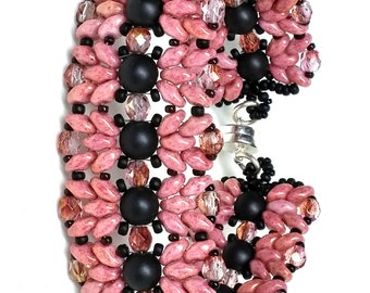 "Dancing Duo Bracelet - Salmon Pink and Black 6 3/4"" length"