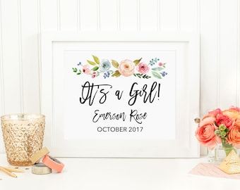 It's a Girl! Pregnancy Announcement, Gender Announcement, Custom Baby Name Announcement Sign, Spring Floral, Greenery Print, BLM