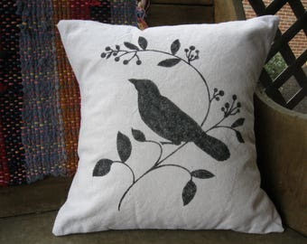 Pillow  -  Songbird  - Bird - Neutral - Farmhouse Decor - Farmhouse - Farmhouse Pillow - Rustic - 16 x 16 inches