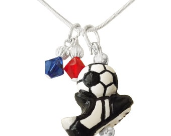Personalized, Soccer Necklace,Team Colors,Swarovski Necklace,Soccer Jewelry,Soccer Charm,Team Gift, Soccer Coach,Soccer Gift,(Made to Order)