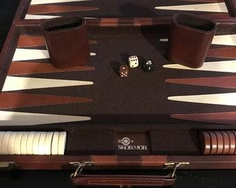 Vintage Travel Backgammon Set/ 1970's/ SKORMOR/ Large Case