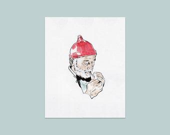 Zissou Print | 8x10 Print | Steve Zissou, Wes Anderson Art, Bill Murray Art, The Life Aquatic, Wes Anderson Gift, Zissou Gift