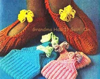 Knitting Grandma Slippers : Footlets pattern vintage sock knitting pdf instant