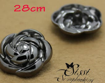 PINK PETAL FASHION CAMELLIA SCRAPBOOKING SEWING SET 3 MAXI FLOWER CHILD CHARCOAL DARK SILVER TONE METAL BUTTONS
