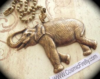 Big Brass Elephant Fan Pull Chain Steampunk Ceiling Fan Pull Antiqued Brass Metal Fan Pull Victorian Zoo Circus Jungle Animal Trunk Up LUCK