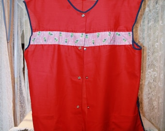 Vintage Homemade Red Smock, Size Large