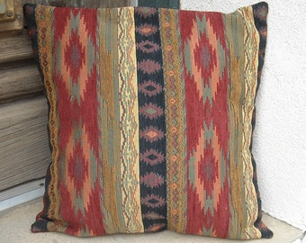 Southwestern chenille pillow cover. 16 x 16 to 24 x 24.  Soft rich and sturdy  fabric. Colors of the Taos Mesa