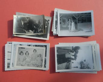 Lot Of 50 Vintage Black White Snapshots Photographs: Portraits People Land City 1930s - 1950s - #1