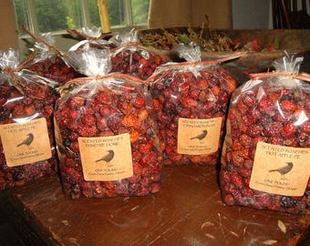 Bulk Scented Rose Hips Potpourri Primitive Packaged and Labeled.  You'll receive 15 oz of whole dried rosehips scented your fragrance choice
