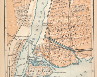 1899 Niagara Falls Antique Map