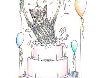 Birthday Monster art print, funny monster print, surprise, funny art print, funny art, birthday monster card, gift for kids,
