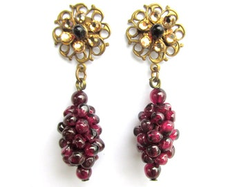 1950s Garnet 'Grape' Cluster Earrings with Rhinestones - Retro Mid Century Jewelry