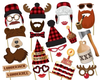 Lumberjack photo booth props. Birthday baby shower props. Lumberjack party printables, Printable PDF, Party supplies - 0209