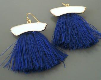 Tassel Earrings - Navy Blue Earrings - Statement Earrings - White Earrings - Enamel Earrings - Gold Earrings - handmade