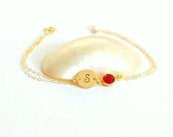 Initial bracelet Custom stamped bracelet Personalized bracelet October birthstone Birthstone bracelet Initial jewelry Hand stamped