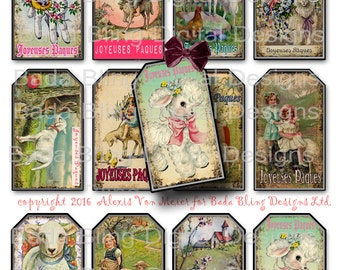 Joyeuses Paques, Happy Easter, Easter gift tags,  INSTANT Digital Download at Checkout, printable gift tags, Easter collage sheets,lambs