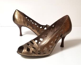 90s AQUATALIA - Bronze Metallic - Peek-A-Boo Toes - Faux Wood Heels - Made in Italy - Like New - Size 8