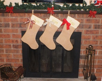 Christmas Stockings - Set of 3 Christmas stockings - Burlap Christmas Stockings - Family Christmas Stockings - Stockings