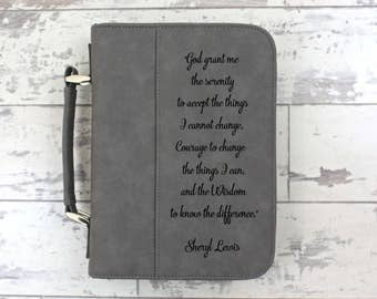 Bible Cover Grey Leather Bible Cover Personalized Bible Cover - God Grant Serenity For The Things I Cannot Change - Birthday Gift