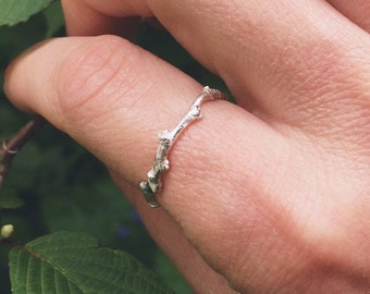 Sterling silver twig ring, sterling silver ring - stacking ring, gardeners gift