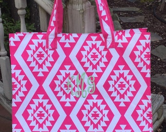 SALE-Pink Aztec Beach Bag -Beach Bag-Personalized Monogrammed Beach Bag- Aztec Travel Bag-Monogram